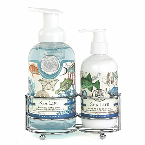 (Michel Design Works Foaming Hand Soap and Lotion Caddy Gift Set, Sea)