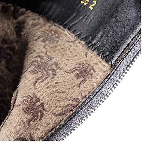 TAOFFEN Women Fashion High Heel Ankle Boots With Zipper Dress Shoes Gray nDRwfbam
