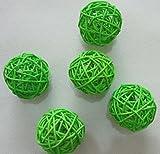 4pcs Handmade Wicker Rattan Balls, Garden, Wedding, Party Decorative Crafts, Vase Fillers (10CM, 5# Light Green)