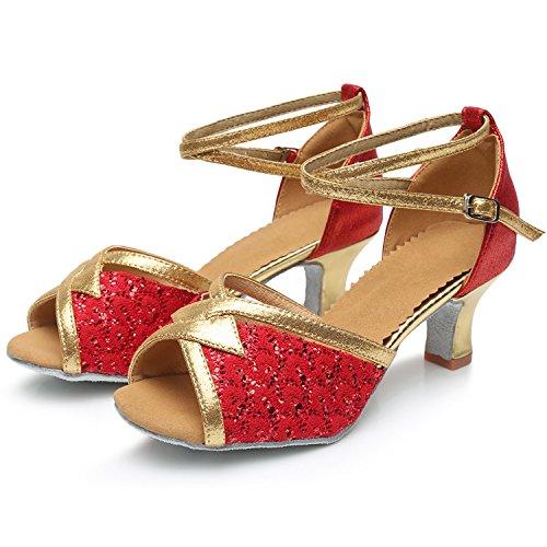 Azbro Mujer Zapato Baile de Latín Tacón Alto Correa Cruzada Lentejuelas Puntera Abierta Rojo