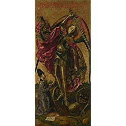Oil Painting 'Bartolome Bermejo - Saint Michael Triumphs Over The Devil,1468', 24 x 54 inch / 61 x 137 cm , on High Definition HD canvas prints is for Gifts And Basement, Garage And Gym Decoration