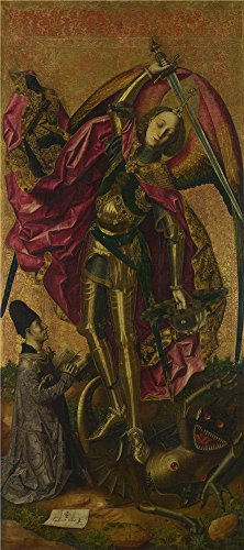 Oil Painting 'Bartolome Bermejo - Saint Michael Triumphs Over The Devil,1468', 12 x 27 inch / 30 x 69 cm , on High Definition HD canvas prints is for Gifts And Basement, Garage And Gym Decoration, get