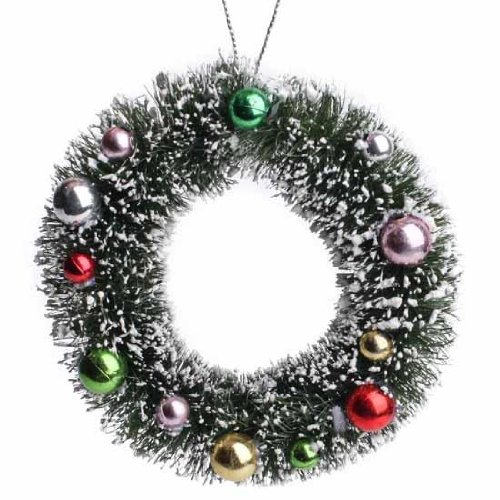 Factory Direct Craft Set of 4 Decorated 4 Inch Hanging Frosted Sisal Wreath Ornaments
