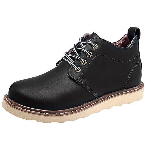 Jamron Men's Autumn-Winter Comfort Lace-up Waterproof Ankle Martin Boots Warm Plush Inside Big Size black-fur