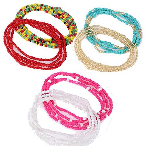 (AOPOO 6 Piece Waist Beads,Summer Jewelry, Bikini, Belly, African Waist Beads, Colorful Waist Beads Set Body Chain for Beach Wear)