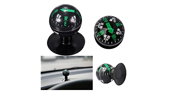 Black Perfect for Finding Direction Universal for Most Cars CARGOOL RR-12-15-6 Car Compass Auto Mini Compact Ball Compass with Adhesive and Delicate Decoration
