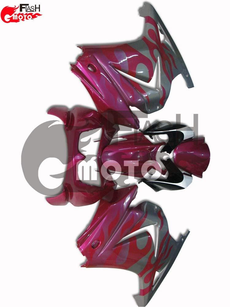 FlashMoto kawasaki 川崎 カワサキ Ninja 250 ZX250 R 2008 2009 2010 2011 2012用フェアリング 塗装済 オートバイ用射出成型ABS樹脂ボディワークのフェアリングキットセット (ピンク,シルバー)   B07L89G72N