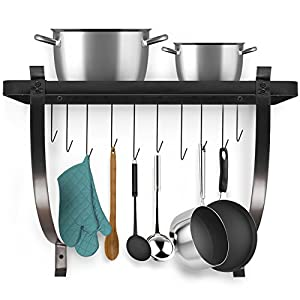 Sorbus Wall Mount Pot Rack with Hooks — Decorative Wall Mounted Storage Rack — Multi-Purpose Organizer Great for Kitchen Cookware, Utensils, Books, Household Items, Bathroom, etc