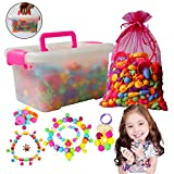 QMAY Pop Snap Beads, 500pcs Kid DIY Bead Toys for Making Necklaces, Bracelets, Rings and More Crafts-Party Birthday Gifts for Girls