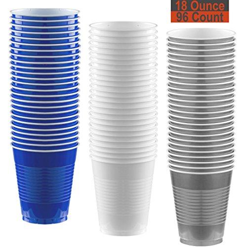 18 oz Party Cups, 96 Count - Royal Blue, White, Silver - 32 Each Color