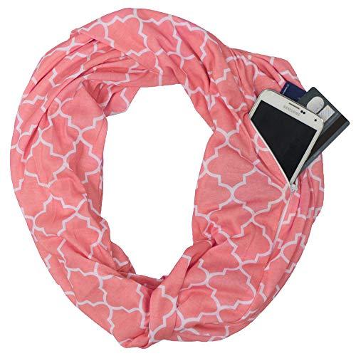 Pop Fashion Scarf, Scarfs, Winter Scarf for Women, Womens Scarf, Infinity Scarf with Pocket, Quatrefoil (CORAL, PINK)