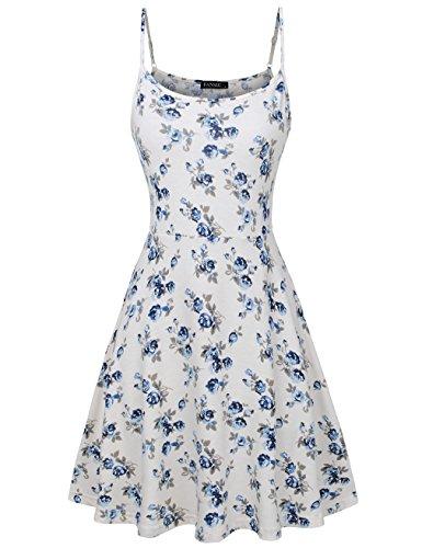 (FANSIC Womens Sleeveless Floral Printed Swing Sundress Spaghetti Strap Dresses)