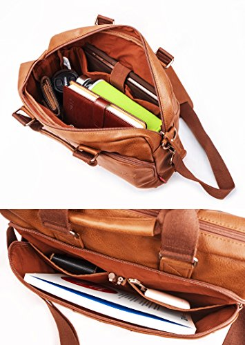 15.6'' PU Leather Laptop Bag Business Briefcase Hand Bag Computer Notebook Office Working Doctor Bag Shoulder Crossbody Bag Handbag by TOPWOLF NEW YORK (Image #4)