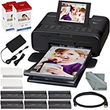 Canon SELPHY CP1300 Compact Photo Printer (Black) with WiFi and Accessory Bundle w/ 2X Canon Color Ink and Paper Set