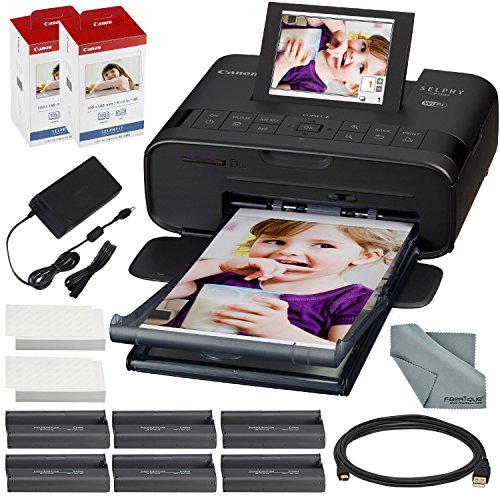 Canon SELPHY CP1300 Compact Photo Printer (Black) with WiFi and Accessory Bundle w/ 2X Canon Color Ink and Paper Set ()