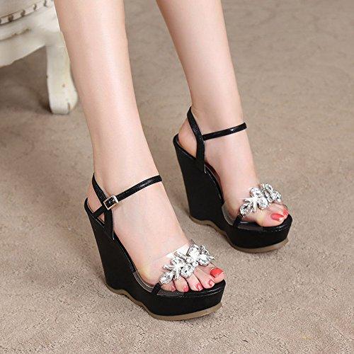 Sandals Transparent Silver Bottom Women's 12CM High Rhinestone Platform EU38 CN38 Shoes Fashion 5 Thick Waterproof Beach Black ZHIRONG UK5 Size Summer Heels Color YrwPaYq
