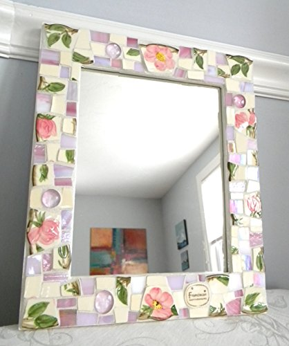 Franciscan Desert Rose Mosaic Mirror - Vintage China Tiles and Stained Glass - Medium (Franciscan Franciscan Desert Rose)