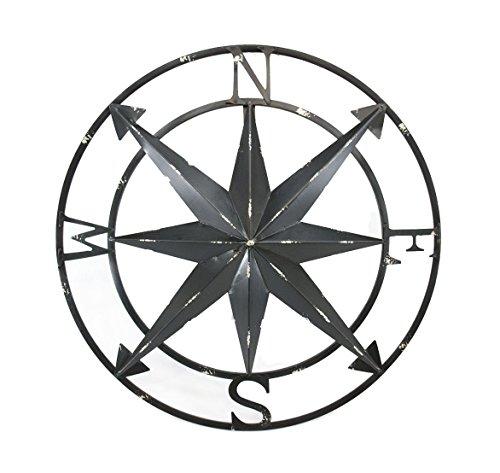 Zeckos 20 Inch Distressed Black Finish Metal Compass Rose Nautical Wall Hanging