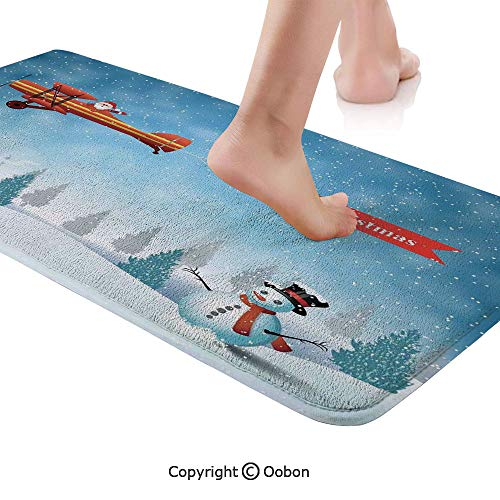 Christmas Rug Runner,Santa in a Plane Flying Over The Forest with Snowman Jolly Season Celebration,Plush Door Carpet Floor Kitchen Decor Mat with Non Slip Backing,71 X 24 Inches,Blue Orange
