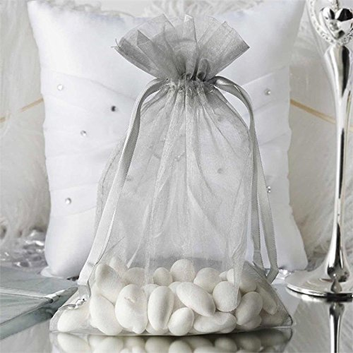 (Efavormart 50PCS Silver Organza Gift Bag Drawstring Pouch Wedding Favors Bridal Shower Treat Jewelry Bags - 6