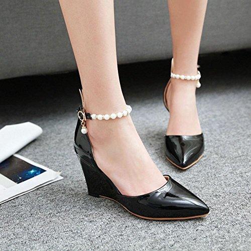 Mee Shoes Damen Keilabsatz ankle strap Schnalle Pumps Schwarz