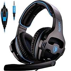 [Newly Updated Version] SADES 810S Stereo Gaming Headset headphones with Volume-Control Mic for New Xbox One, PS4, PS4 PRO, PC, Laptop, Mac, Phone - Black