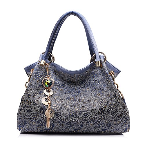 Women Bag Hollow Out Ombre Handbag Floral Print Shoulder Bags Ladies Pu Leather Tote Bag Red/Gray/Blue,Blue