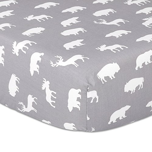 Buffalo Silhouette - Woodland Trail Animal Silhouette Grey Forest Animal Theme Fitted Crib Sheet