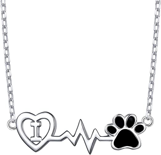 NEW Pet Paw Heart Pendant Dog Cat Charm Gold Silver Rose Necklace Chain Jewelry