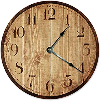 2025 BLUE TAN WOOD RUSTIC CLOCK Large 10.5 inch Wall Clock PRINTED WOOD LOOK