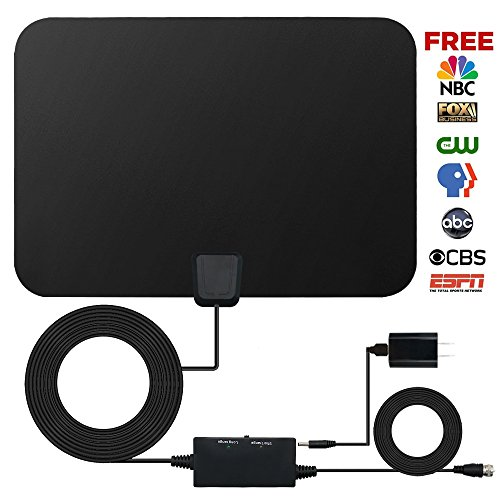 HDTV Antenna,Indoor Amplified TV Antenna 50 to 70 Mile Range with Creative Adjustable Amplifier Booster and and 16.5 Feet Coaxial Cable (Black)