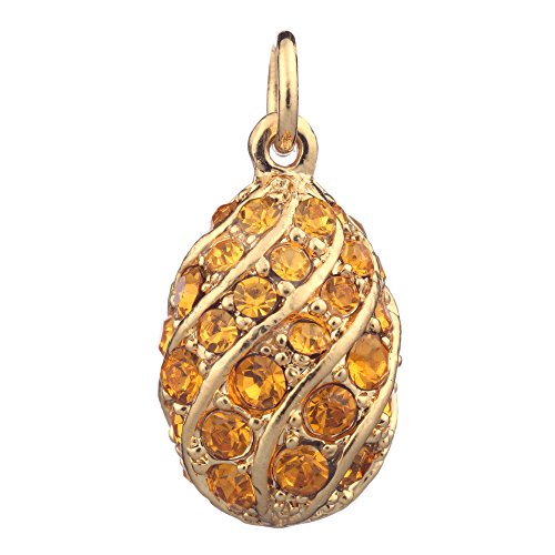 danila-souvenirs Russian Faberge Style Egg Pendant/Charm Crystals 3/4'' Gold Color -