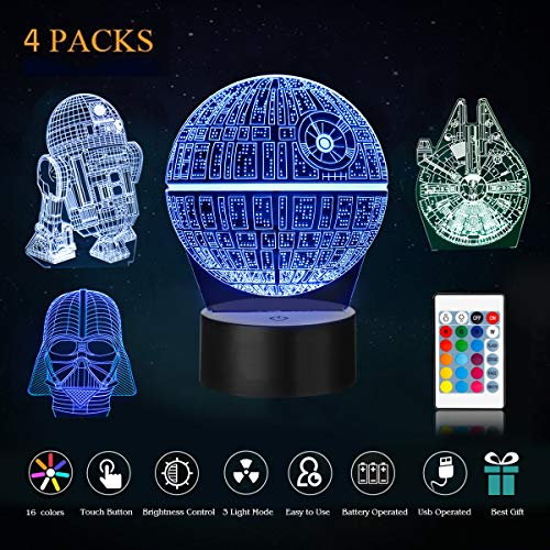 Gift Millennium (Star wars night light - Star Wars Gifts,KEEBO 3D LED Night Light Star Wars,4 kind of Patterns,Millennium Falcon,Death Star,Darth Vader and R2D2,with 7 light modes,power by USB or 3pcs AA batteries)