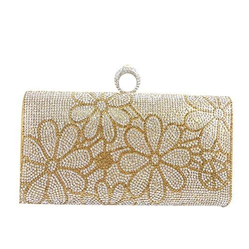 Yingzu De las mujeres Flor Patrón de Embrague Monederos Cristal Partido Bolso dorado