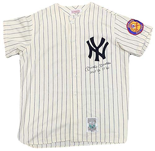 Rare Mickey Mantle Signed Jersey, Inscribed MVP 1956 '57 '62. 8 Auto, JSA - PSA/DNA Certified - Autographed MLB Jerseys (Mickey Mantle 1952 Topps Rookie Card Value)