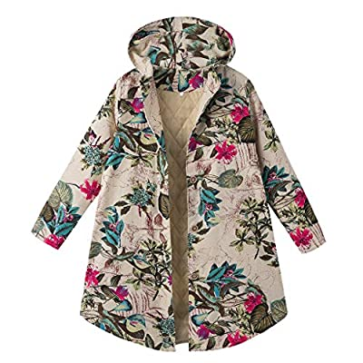 Sttech1 Women Flower Printed Lapel Collar Long Sleeves Cardigan Asymmetric Hem Wrap Warm Long Cotton Coat: Clothing