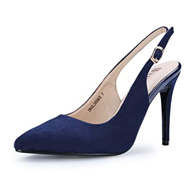 1b7c7747c49 IDIFU Women s IN4 Slingback Pointed Toe Ankle Strap Stiletto High Heel  Dress Pump (Blue Suede