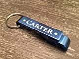 Personalized by Name Aluminum Beer Bottle Opener Keychain for Bartenders (Navy, Carter Design)