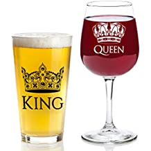 King and Queen Gift Set - 16 oz Beer Pint Glass, 13 oz Wine Glass - Valentines Day Present Idea, Wedding, Engagement, Housewarming, Anniversary, Newlyweds, Couples, Parents, Mom, Dad, Him, Her, Mr Mrs