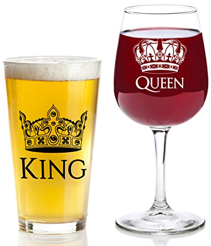 King and Queen Gift Set - 16 oz Beer Pint Glass, 13 oz Wine Glass - Valentines Day Present Idea, Wedding, Engagement, Housewarming, Anniversary, Newlyweds, Couples, Parents, Mom, Dad, Him, - Glasses Engraved Cheap