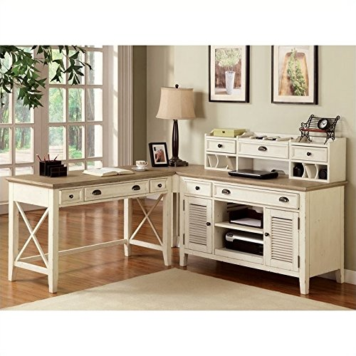 Riverside Furniture Coventry Two Tone Workstation in Dover W