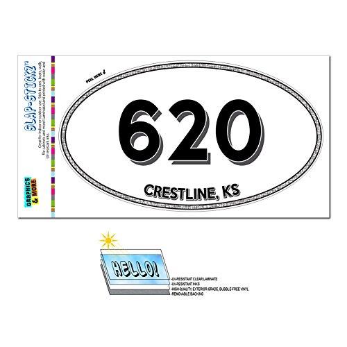 Area Code Euro Oval Window Laminated Sticker 620 Kansas KS Abbyville - Crestline - Crestline