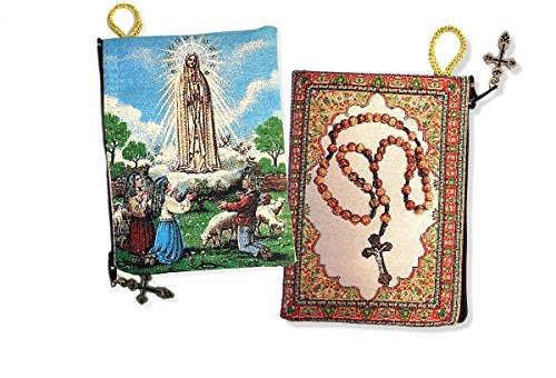 Our Lady Of Fatima With Children Rosary Tapestry Icon Pouch Keepsake Holder 5 3/8 Inch Rosary Pouch