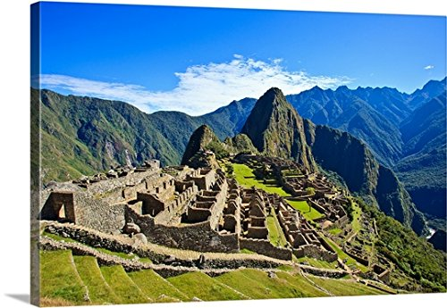 Canvas On Demand Premium Thick-Wrap Canvas Wall Art Print entitled Machu Picchu is a 15th century Inca site on a mountain ridge above the Urubamba Valley (Inca Wrap)