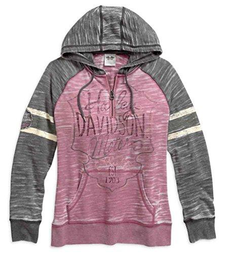 Harley-Davidson Women's Burnout Sleeve Stripe Hoodie, Pink/Gray 96071-17VW (S) ()