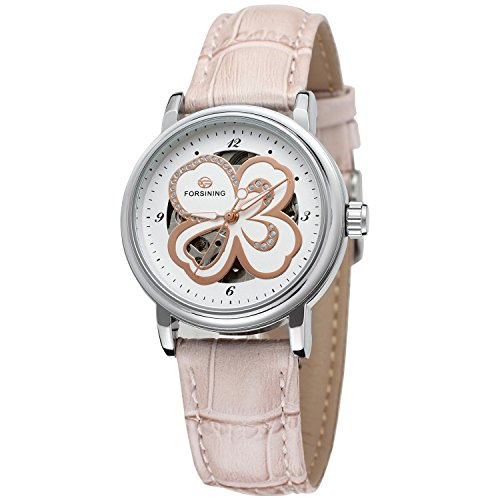 Forsining Women's Stylish Automatic Self-winding Skeleton Leather Strap Analogue Watch FSL8014M3S8