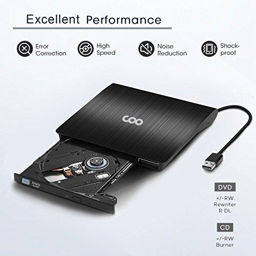 DVD Drive USB 3.0 Portable External CD DVD Drive Slim CD/DVD-RW Writer Burner High Speed Data Transfer for Laptop Notebook PC Desktops Support Windows/Vista/7/8.1/10/ Mac OSX by COO (Image #1)
