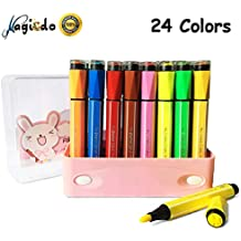Magicdo 24 Cols Watercolor Pens Set, Washable Markers with Stamps, Watercolor Marker Pens with Art Seal, Non-Toxic for Kids Coloring Book, Doodling, Drawing (Pink Box)