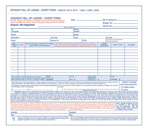 Tops Snap-Off Triplicate Bill Of Lading Short Form with Hazardous Material Info 50 Pack (3841)