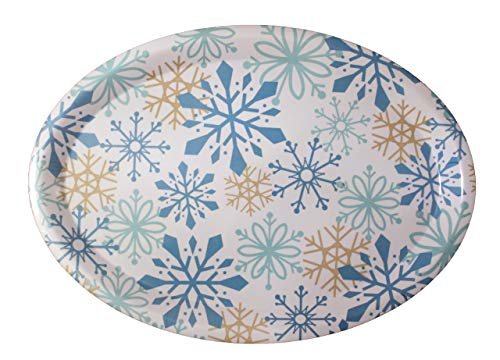 - Oval Christmas Holiday Melamine Serving Tray Platter (Blue)